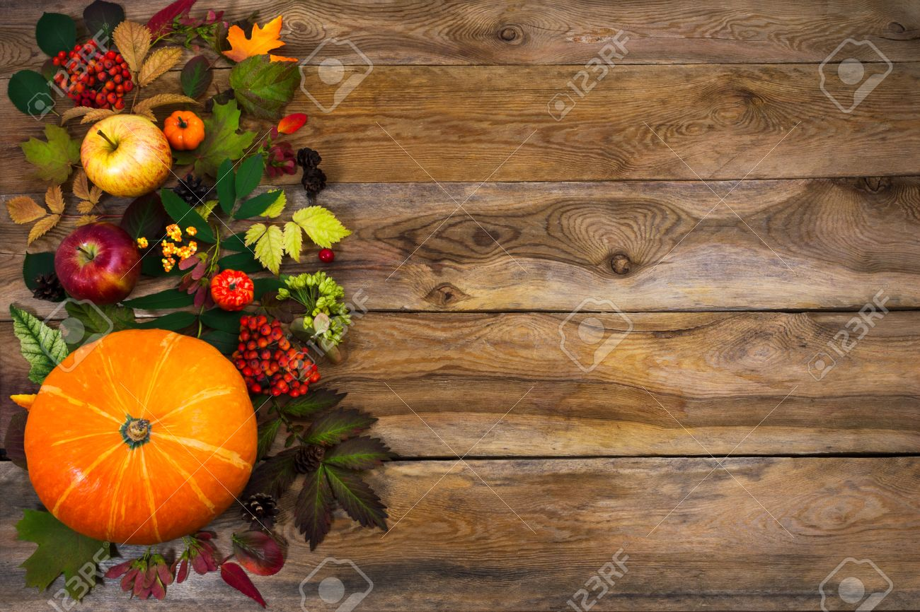 Happy Thanksgiving Background With Squash Apples And Autumn Leaves On The Right Side Of Rustic