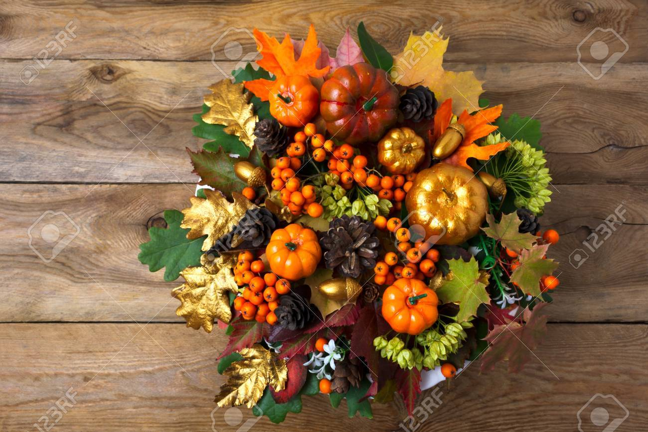 Thanksgiving Wreath With Pumpkins And Autumn Leaves On The Old Stock Photo Picture And Royalty Free Image Image 85970565