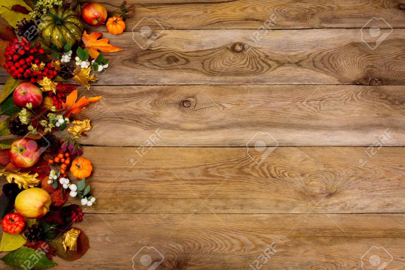 Fall Background With Border Of Pumpkins Apples Rowan Berries