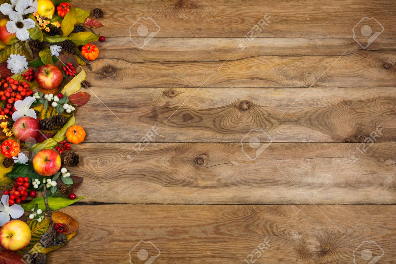 Thanksgiving Or Fall Greeting Background With Border Of Pumpkins