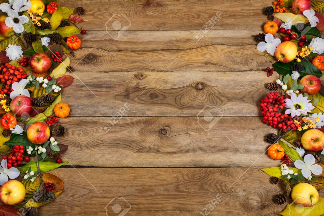 Happy Thanksgiving Greeting Background With Frame Of Pumpkins Apples Rowan Berries Leaves And