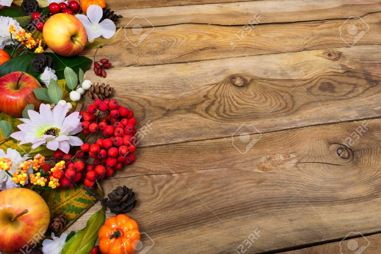 Thanksgiving Or Fall Greeting Background With Border Of Rowan
