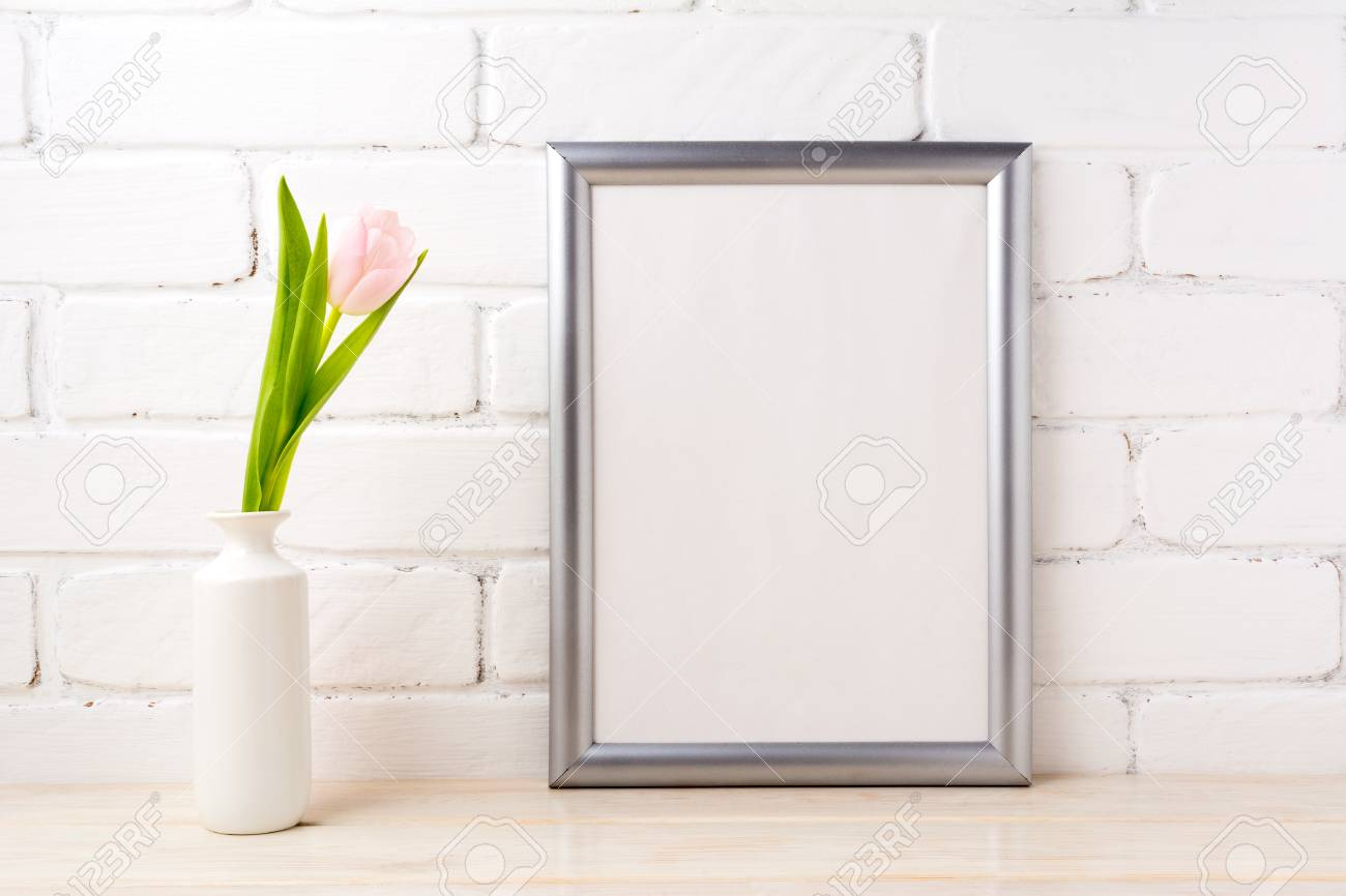 Silver Frame Mockup With Soft Pink Tulip In White Vase Near White ...