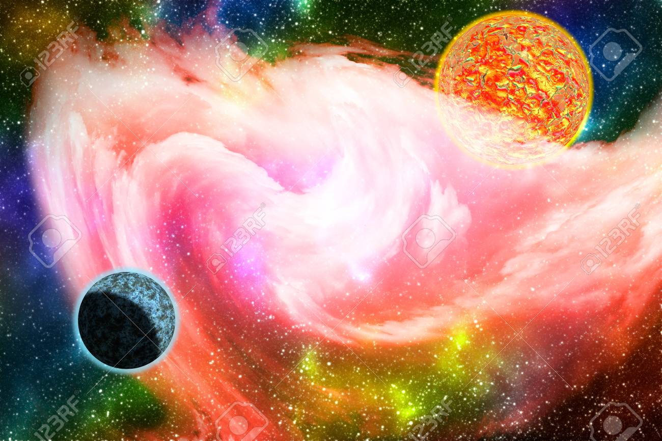 Colorful Galaxy Background With Planets Stars And Glowing Pink Stock Photo Picture And Royalty Free Image Image 100282117
