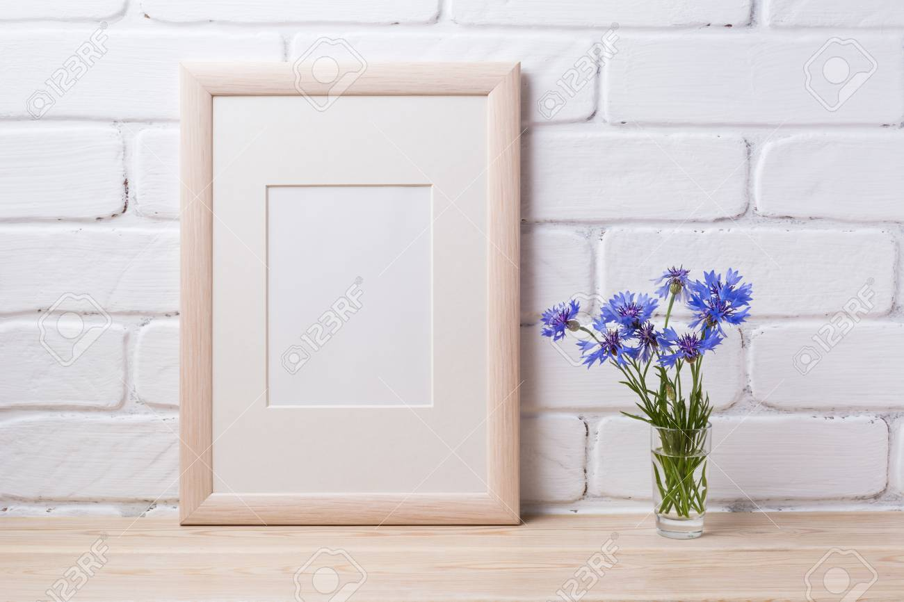 Wooden Frame Mockup With Blue Cornflower In The Simple Glass.. Stock ...