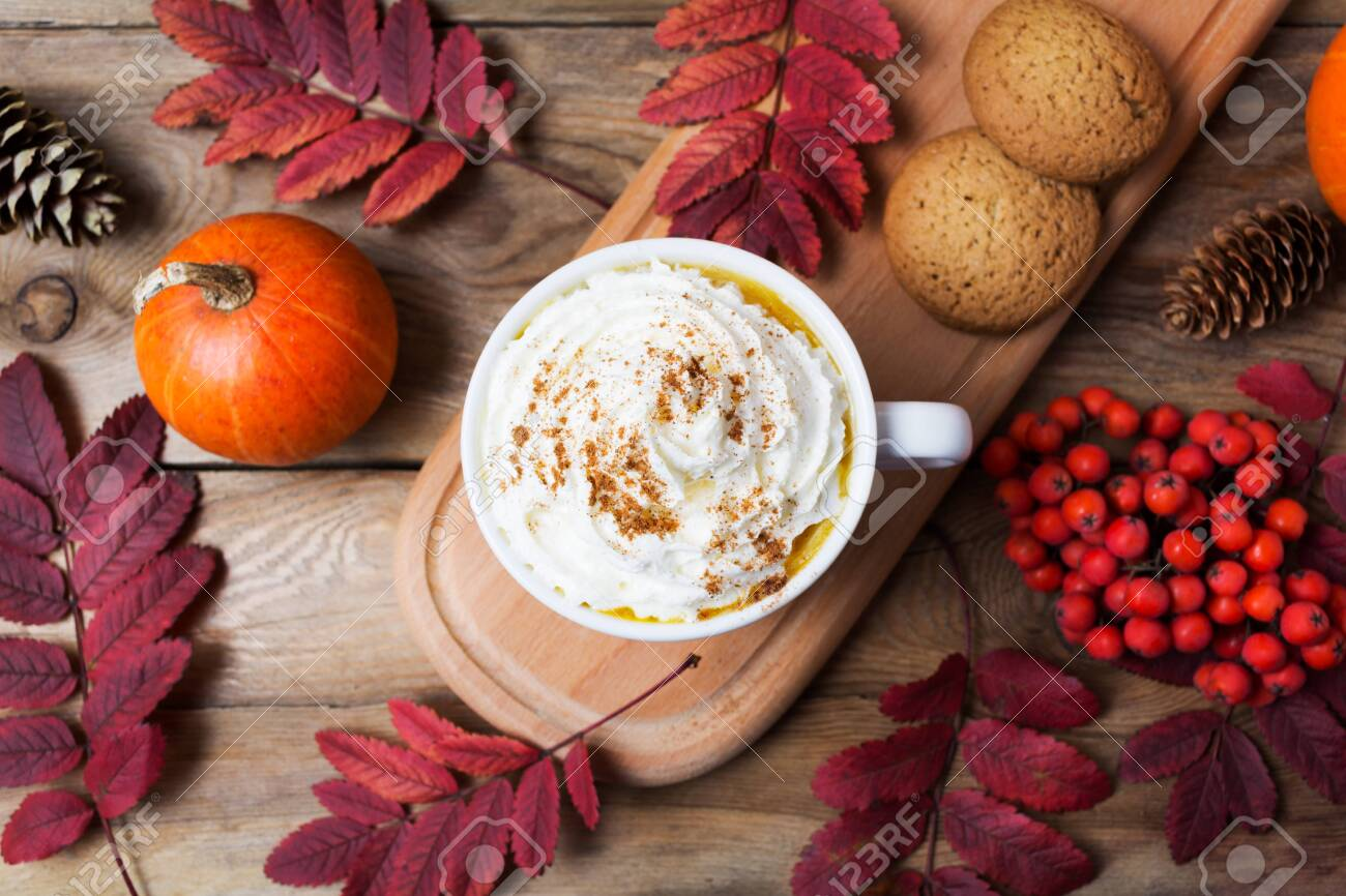 Pumpkin Spice Coffee Latte Mug With Whipped Cream Cookies Fall Stock Photo Picture And Royalty Free Image Image 132819215