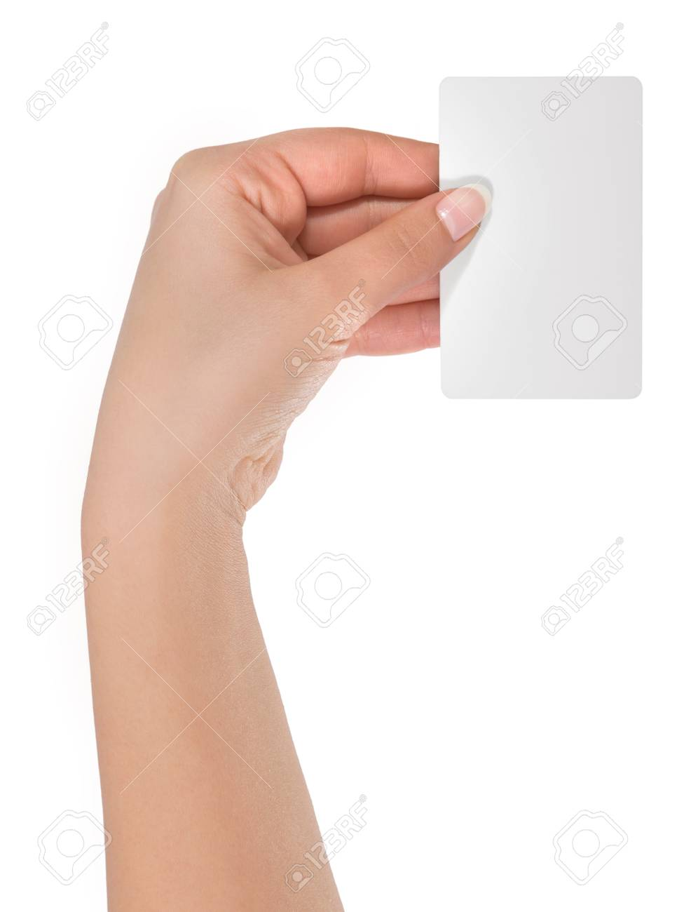 Woman Hand Hold Virtual Business Card, Credit Card Or Blank Paper ...