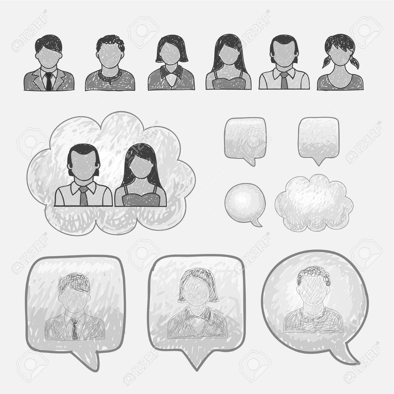 Head People Line Icons Stock Vector - 17660468