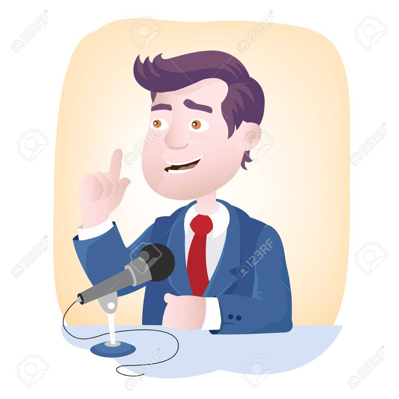 Speech microphone - gesture and facial expression of speaker Stock Vector - 17660471