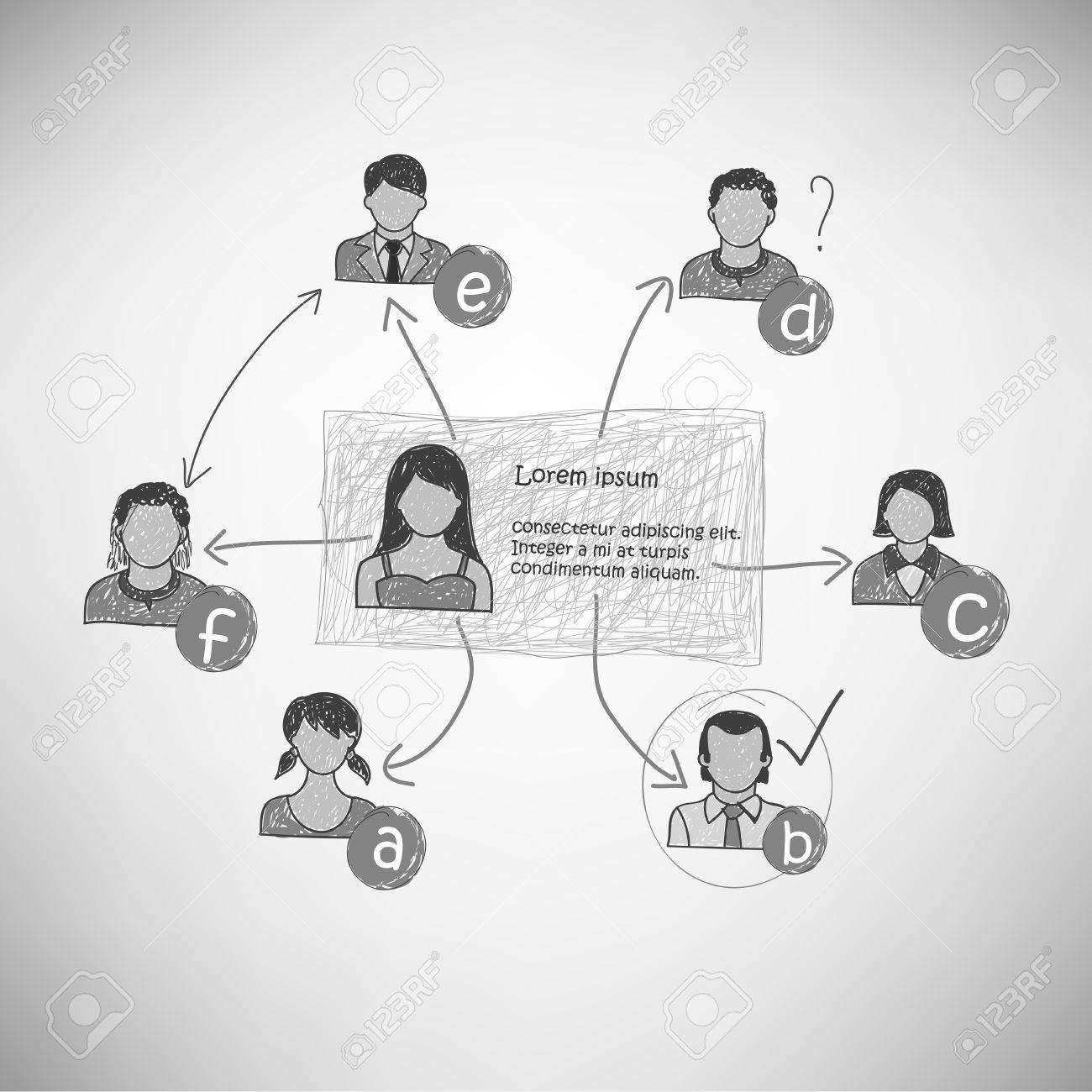 Hand-drawn people connections Stock Vector - 17660501