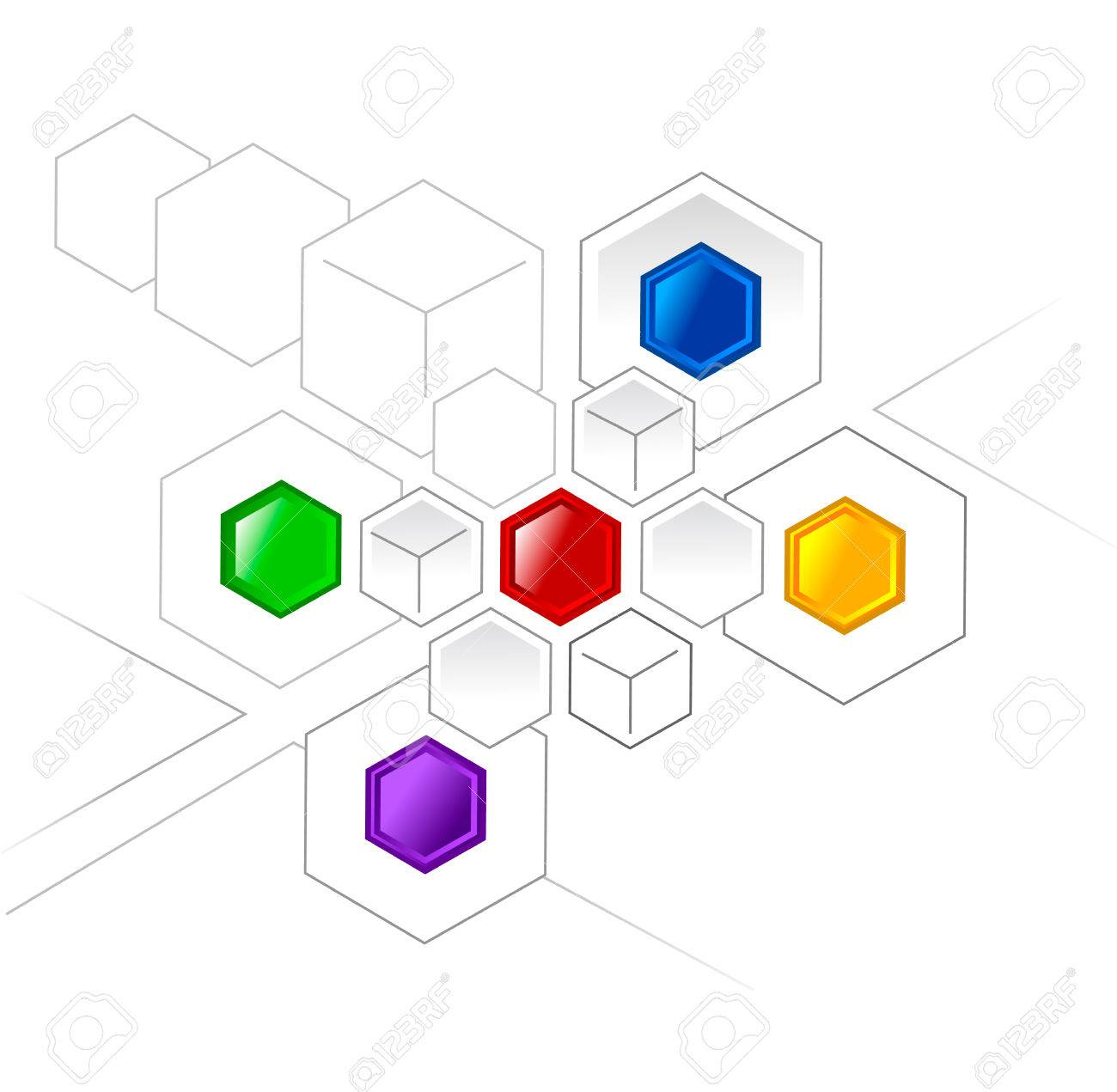Connected color hexagons and cubes for various projects Stock Vector - 1415819