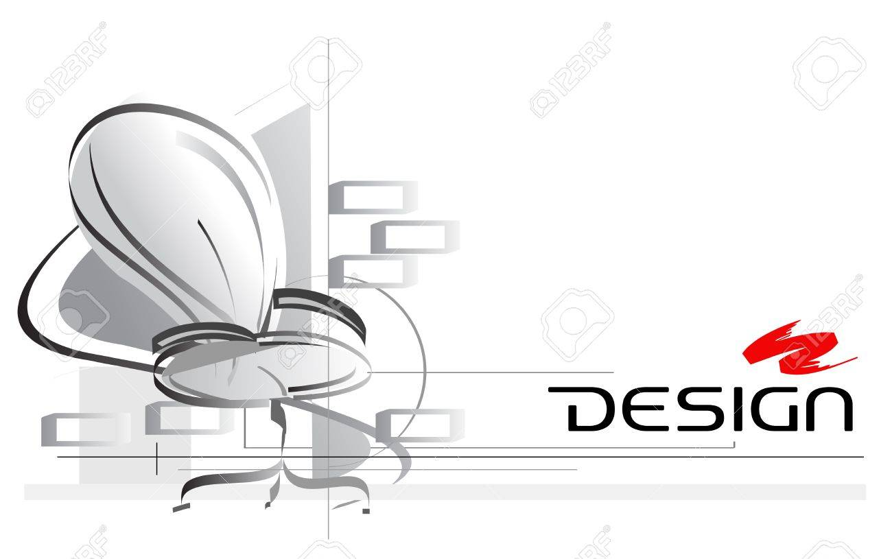 Interior design logo vector - Vector Interior Design Illustration With Office Chair On Foreground