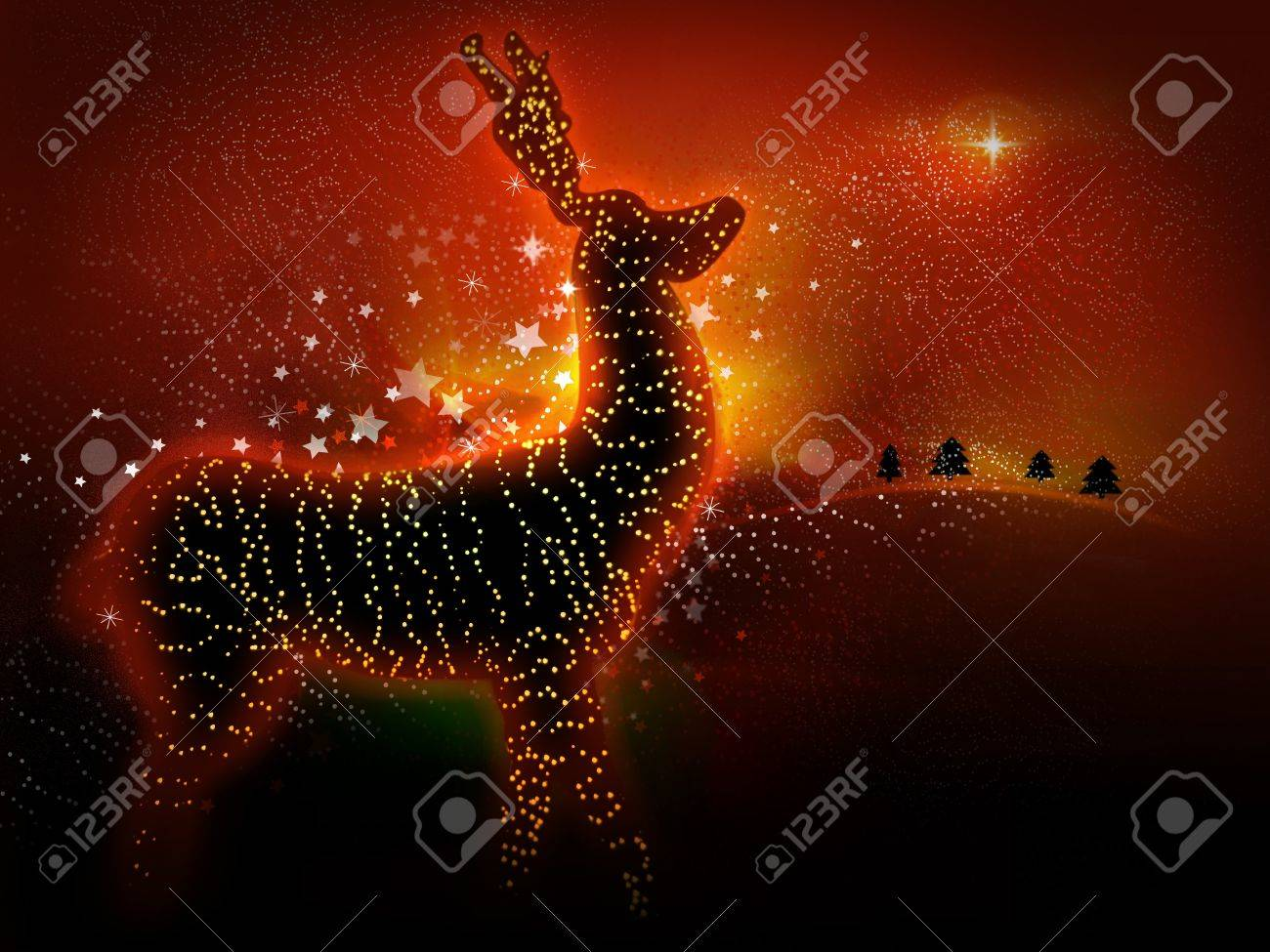 Christmas reindeer with glowing lights. Perfect as a Christmas card Stock Photo - 8328010