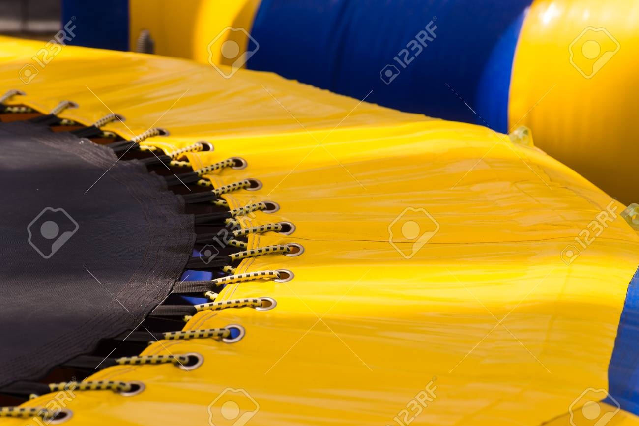 Part of yellow blue strip trampoline - 19613967