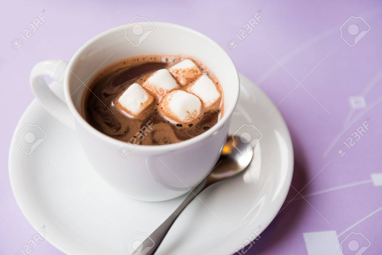 cup of hot chocolate with marshmallows topping - 21427586