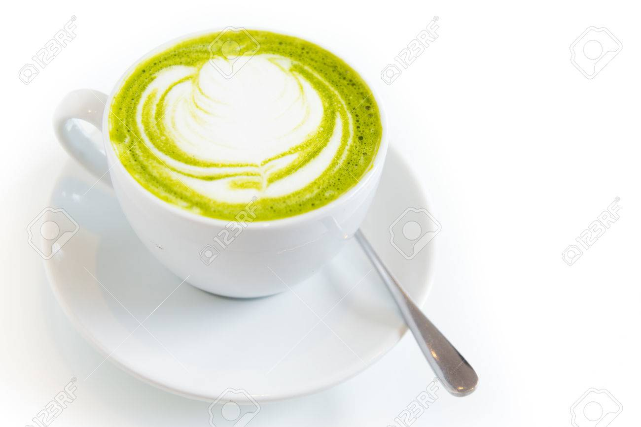 green tea latte art in white cup,isolated - 26746153