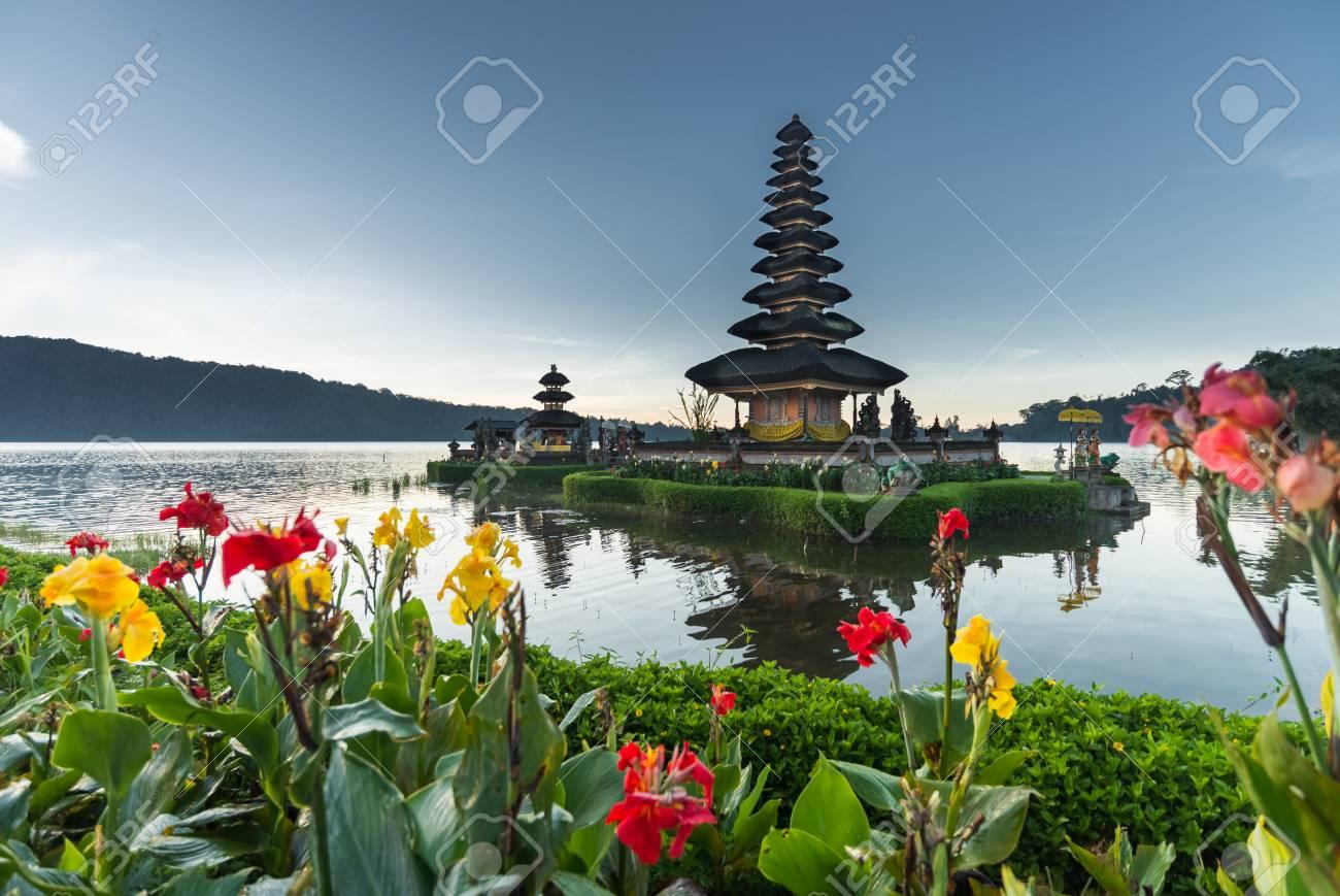 flowers Pura Ulun Danu temple on a lake Beratan, Bali, Indonesia, HDR style - 44085543
