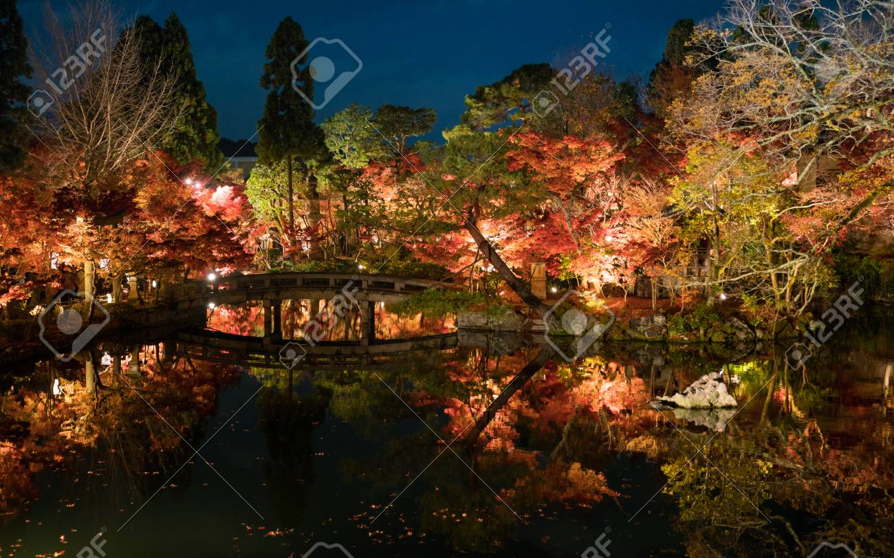 Japanese Classic Style Concrete Bridge And Torii Gate In Autumn ...