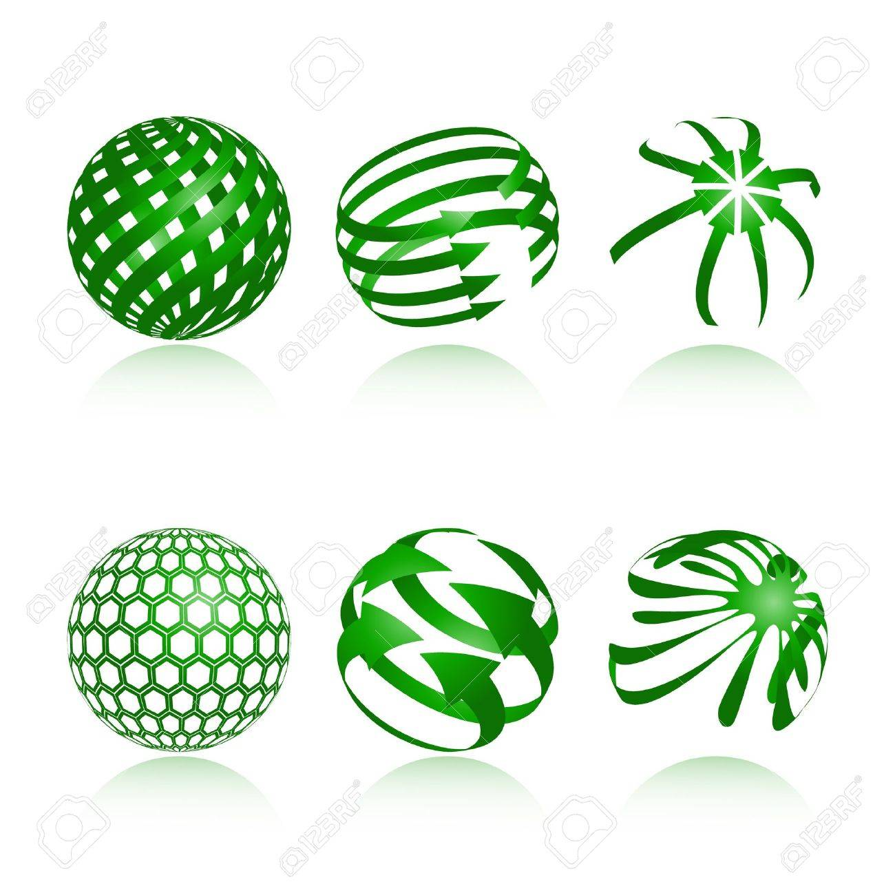 collection of abstract green globe icons and symbols Stock Vector - 11383471