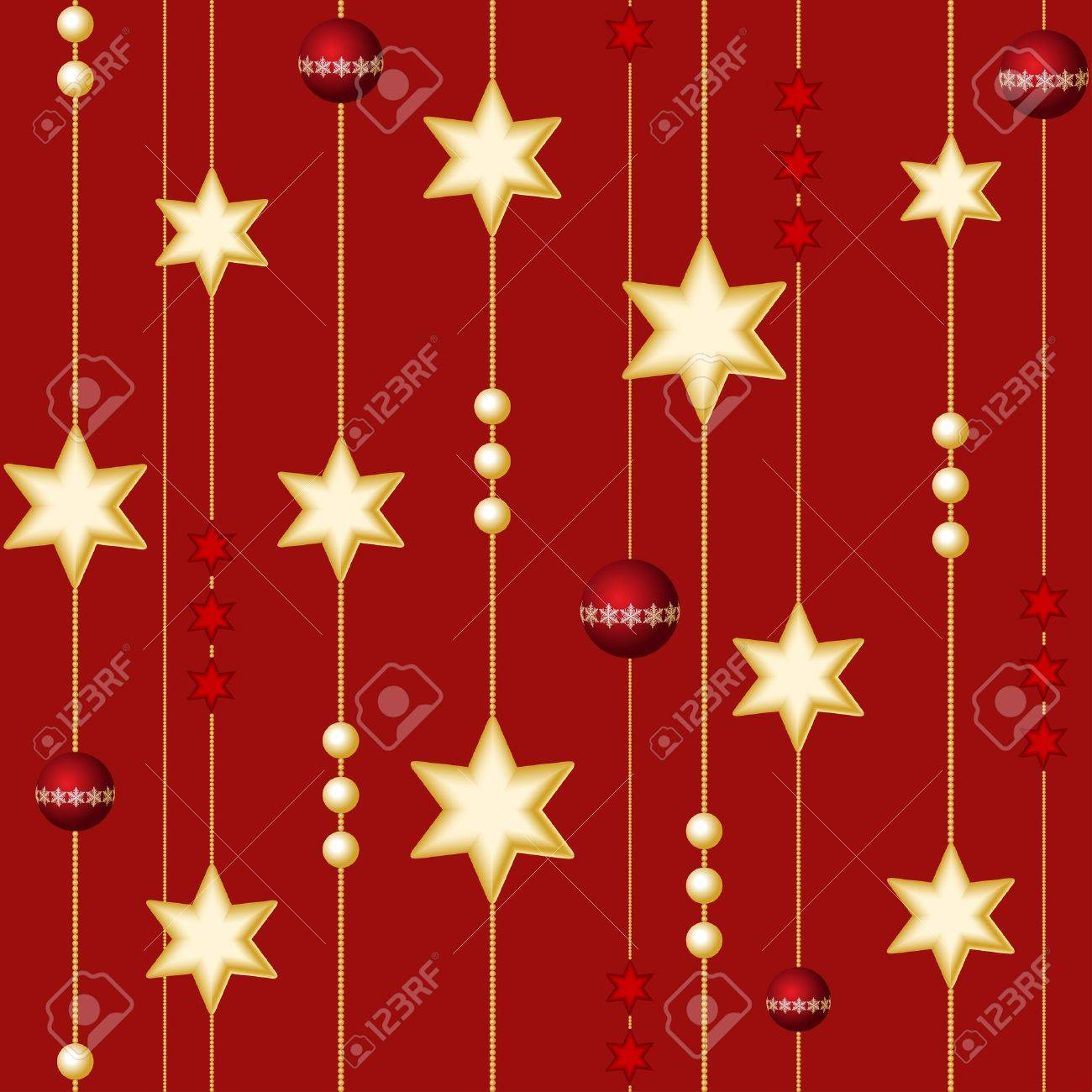 Seamless Christmas balls and stars on the red background Stock Vector - 11641329