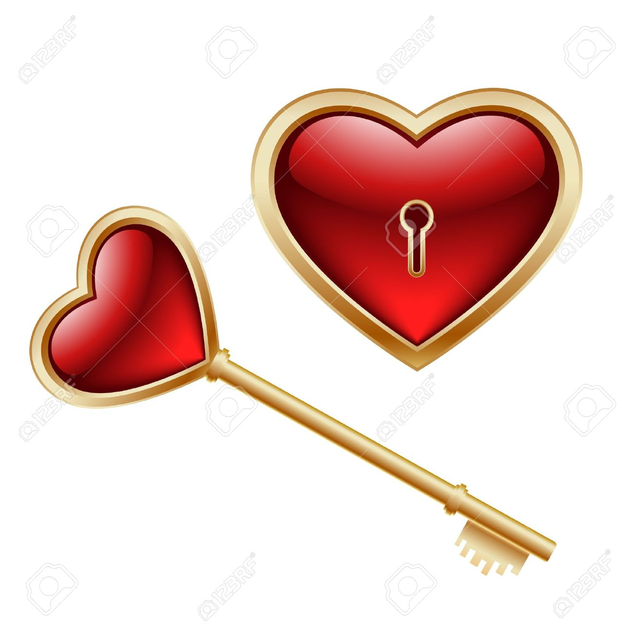 Golden key with a little heart inside and lock as heart Stock Vector - 11910296