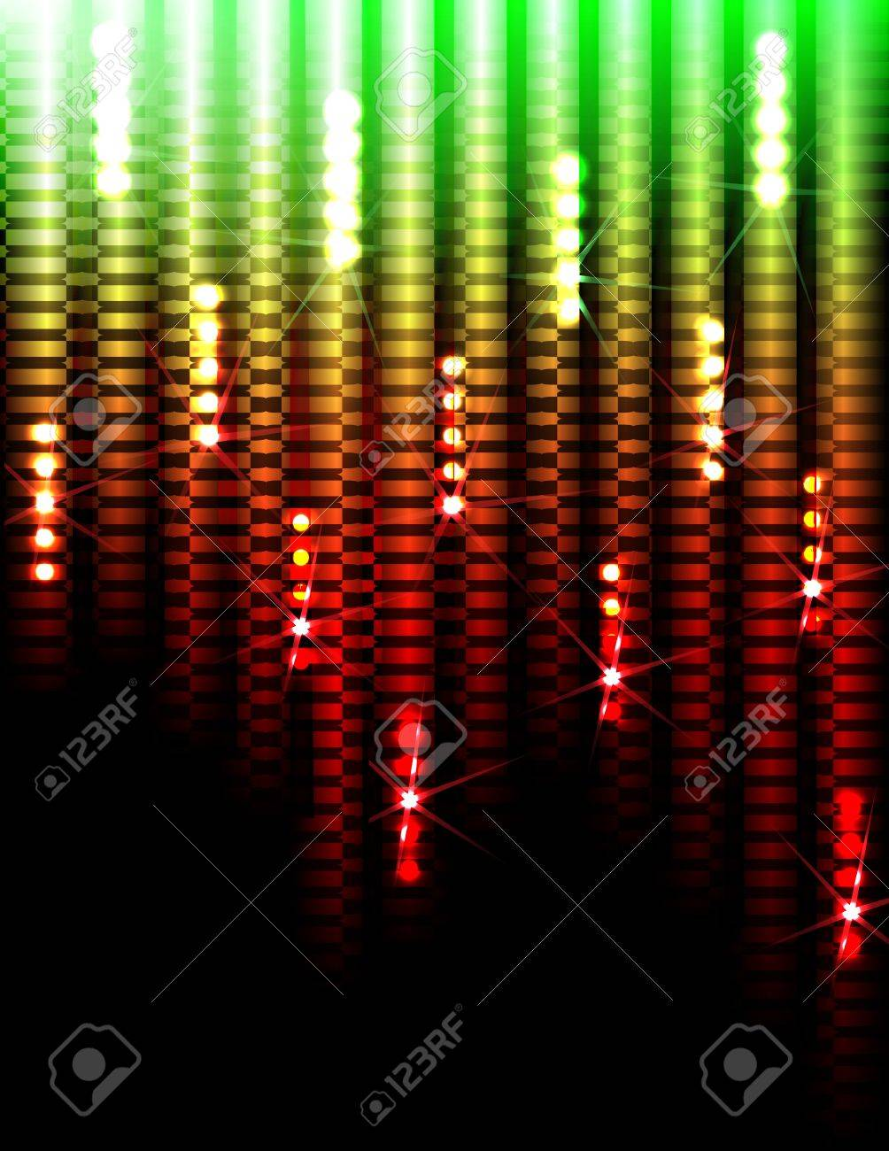 Disco Abstract Colorful Stripes on Black Background Stock Vector - 12209204