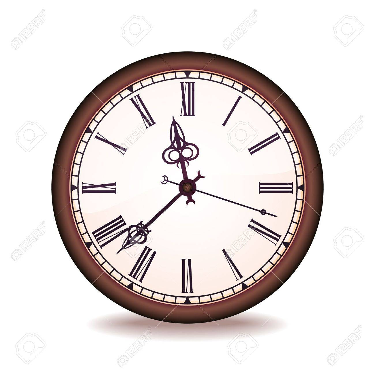 Vintage wall clock with the Roman figures Stock Vector - 13876037