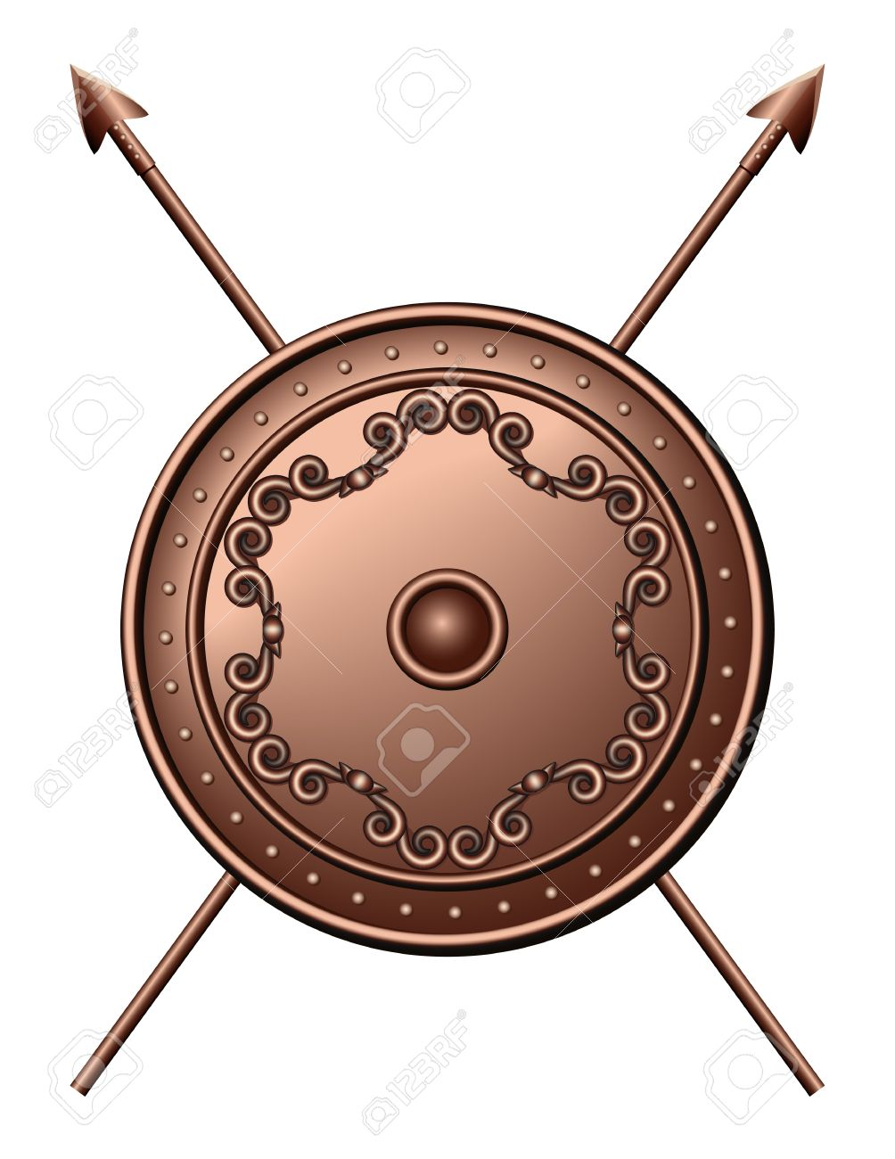 Bronze shield and crossed spears illustration Stock Vector - 14753722