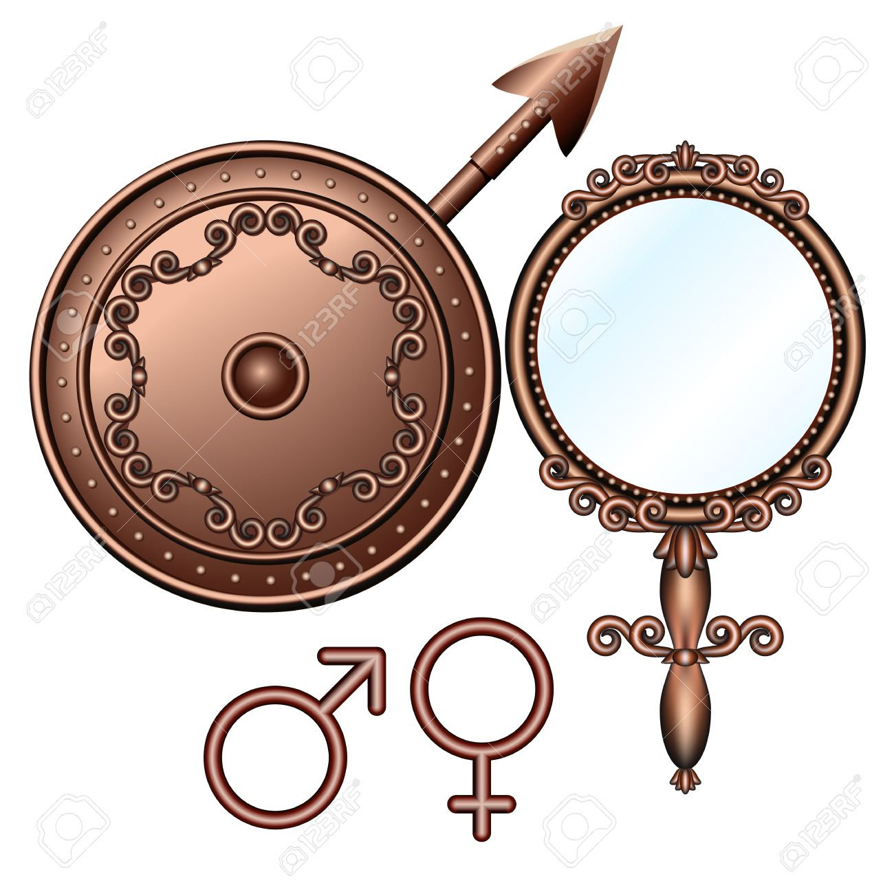 Mirror of Venus and spear of Mars - male and female symbols