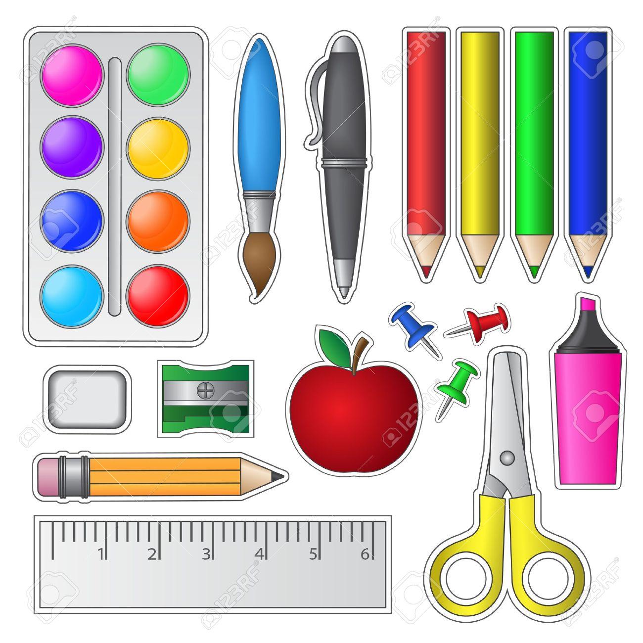 Conjunto De Herramientas Y útiles Escolares Ilustraciones ...