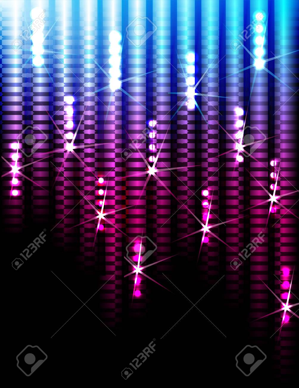 Disco Abstract Colorful Stripes on Black Background Stock Vector - 15057370