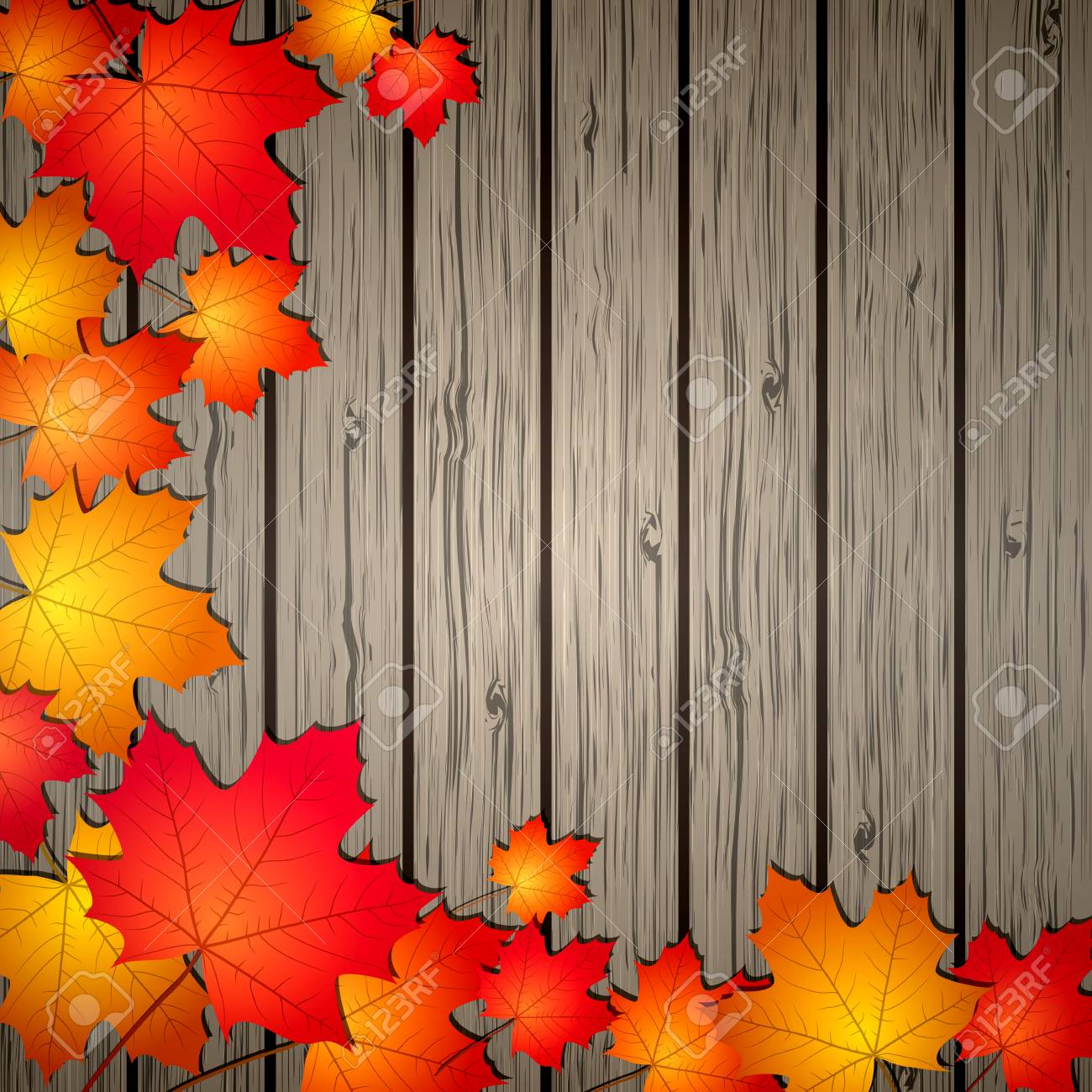 Autumn Leaves over wooden background illustration Stock Vector - 15170198