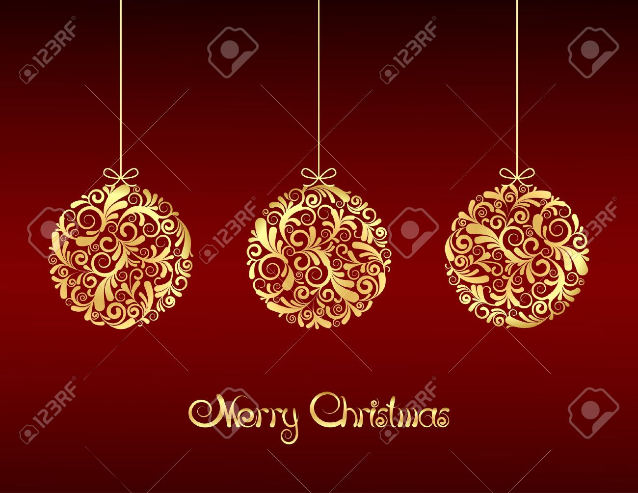 Red and gold christmas ornaments - Gold Christmas Balls On Red Background Illustration Stock Vector 15928538