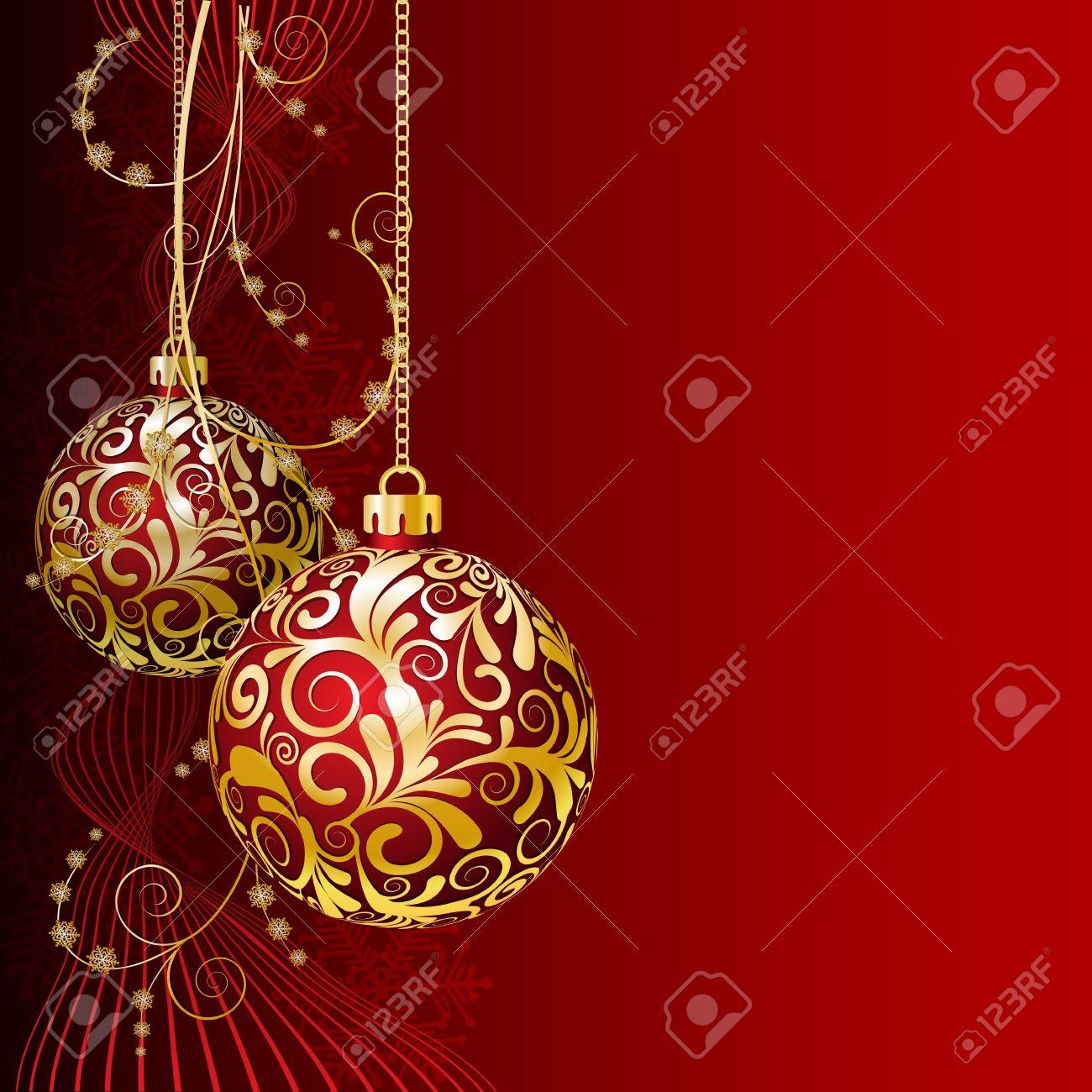 bolas de navidad doradas red tarjeta de navidad con bolas de navidad y copos de