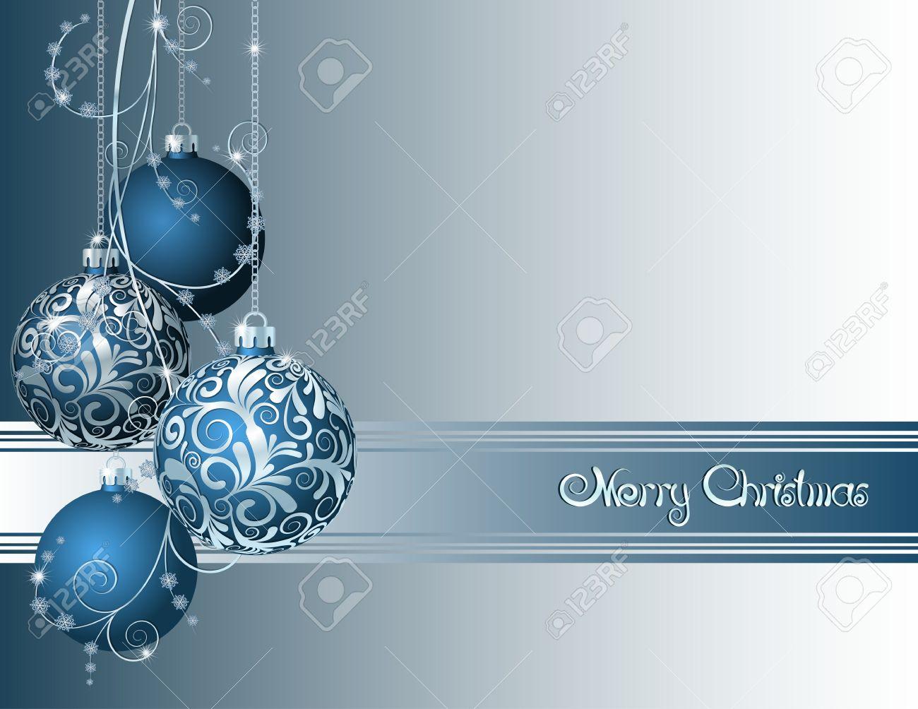 tarjeta navidad tarjeta de navidad azul con bolas de navidad y copos de nieve