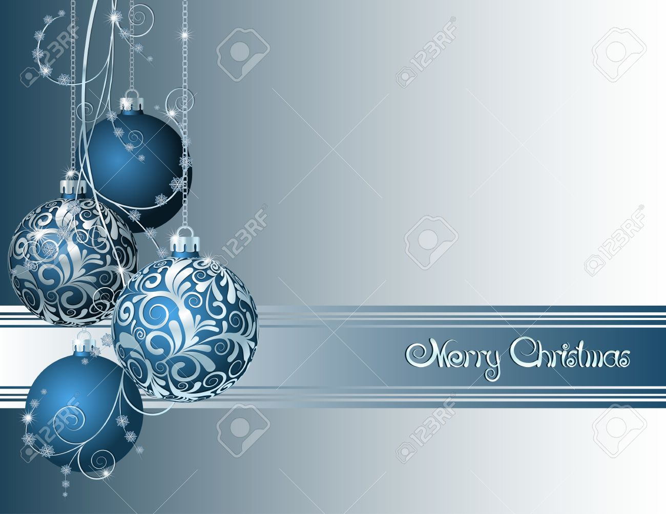 Blue Christmas card with Christmas balls and snowflakes Stock Vector - 16132959