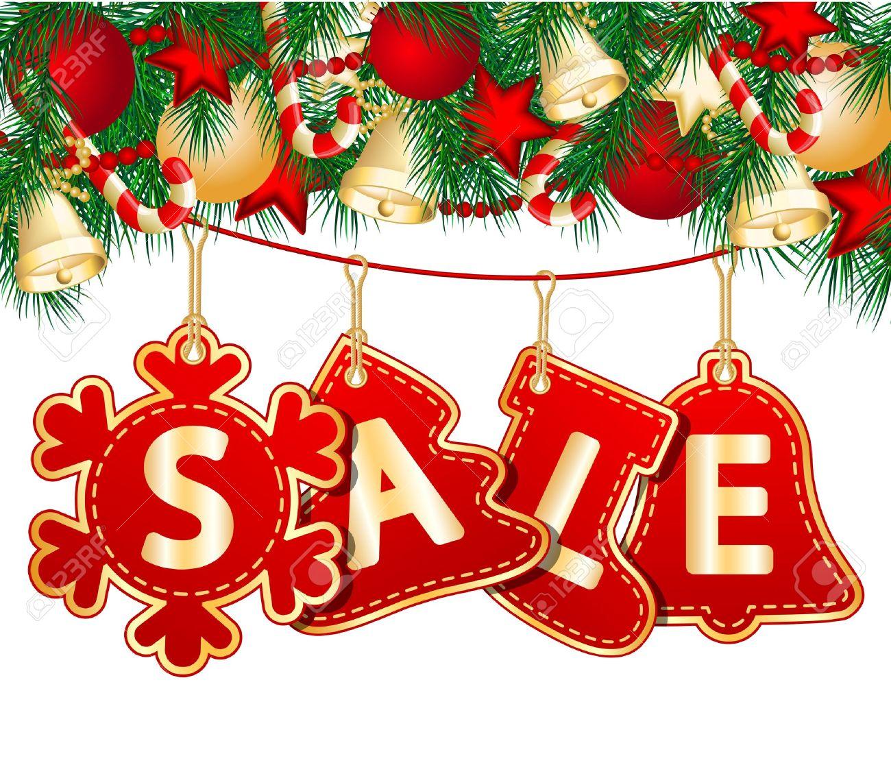 Christmas Signs.Christmas Sale Tags On Christmas Signs Illustration