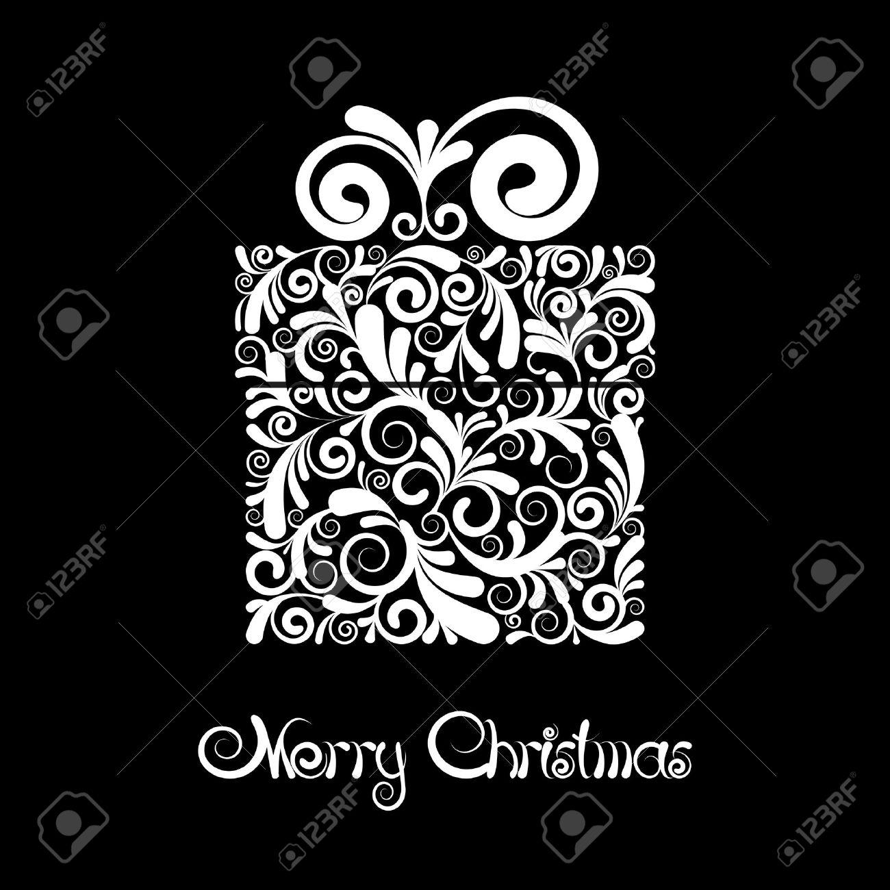 Christmas ornament black and white - Christmas Ornament Vector Christmas Card Gift Box With Scroll Ornament Black And White Vector