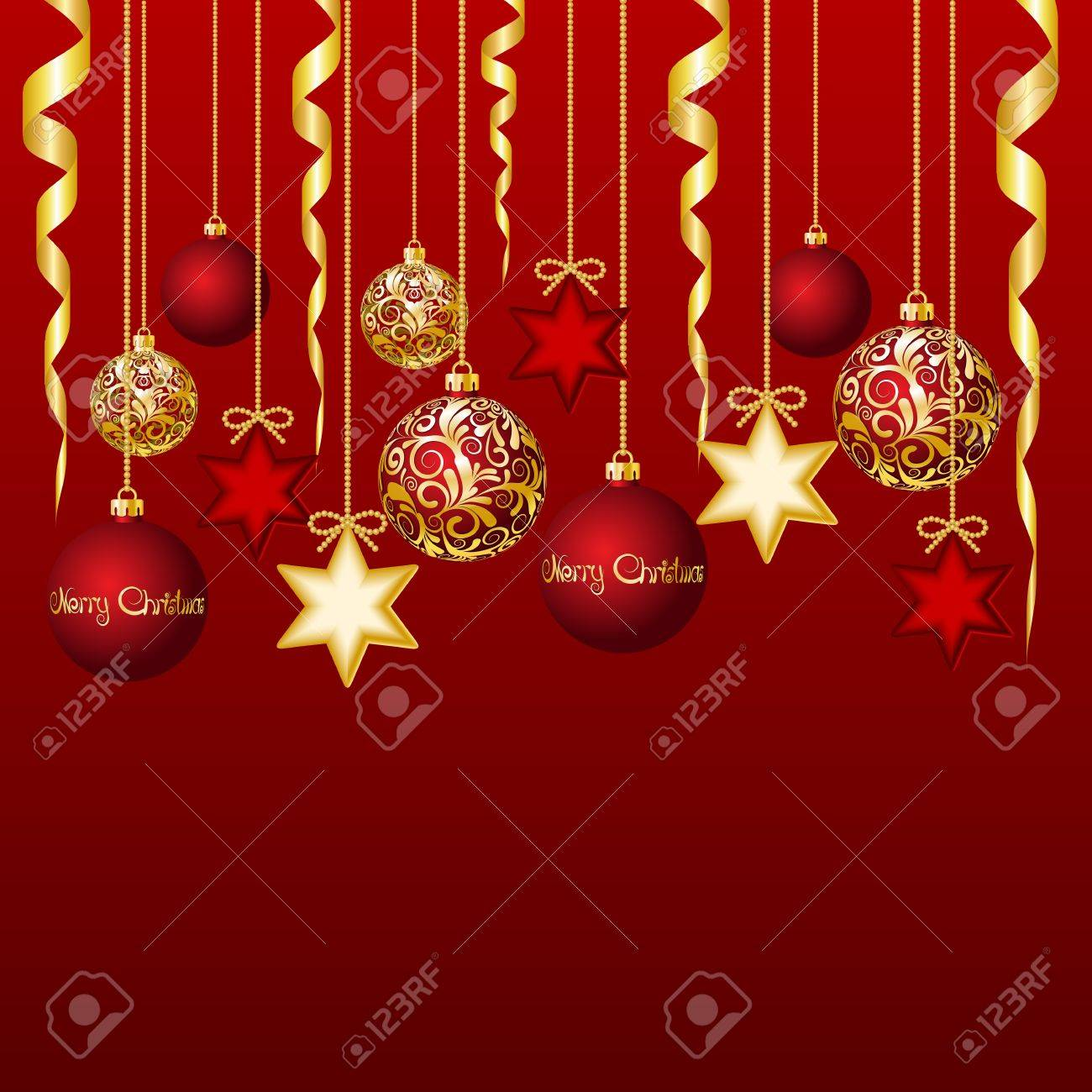 Red card with christmas balls, illustration Stock Vector - 16542998