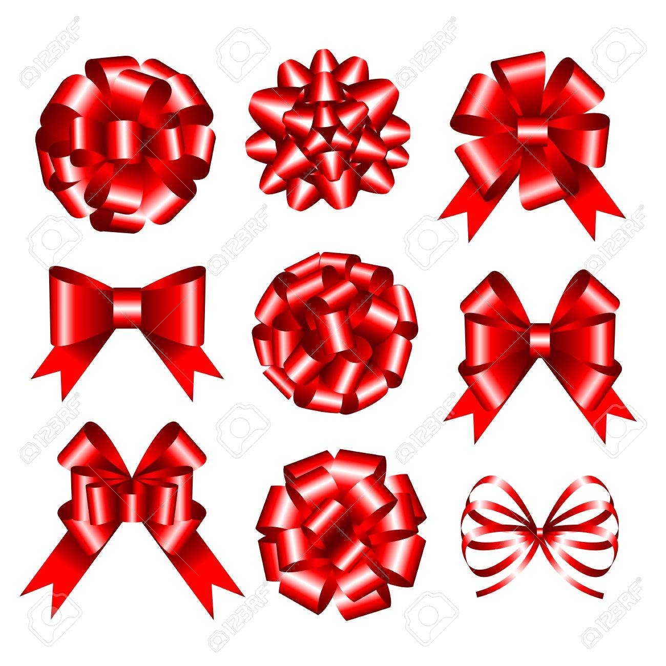 Set of red gift bows illustration Stock Vector - 16612273