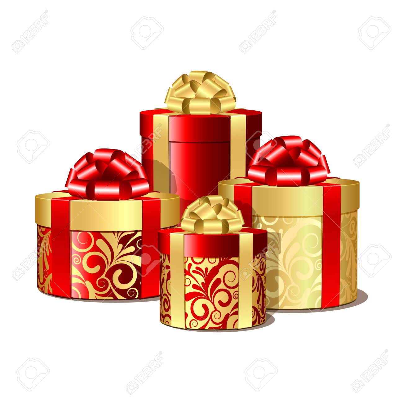 Red and gold gift boxes  Vector illustration Stock Vector - 16693034