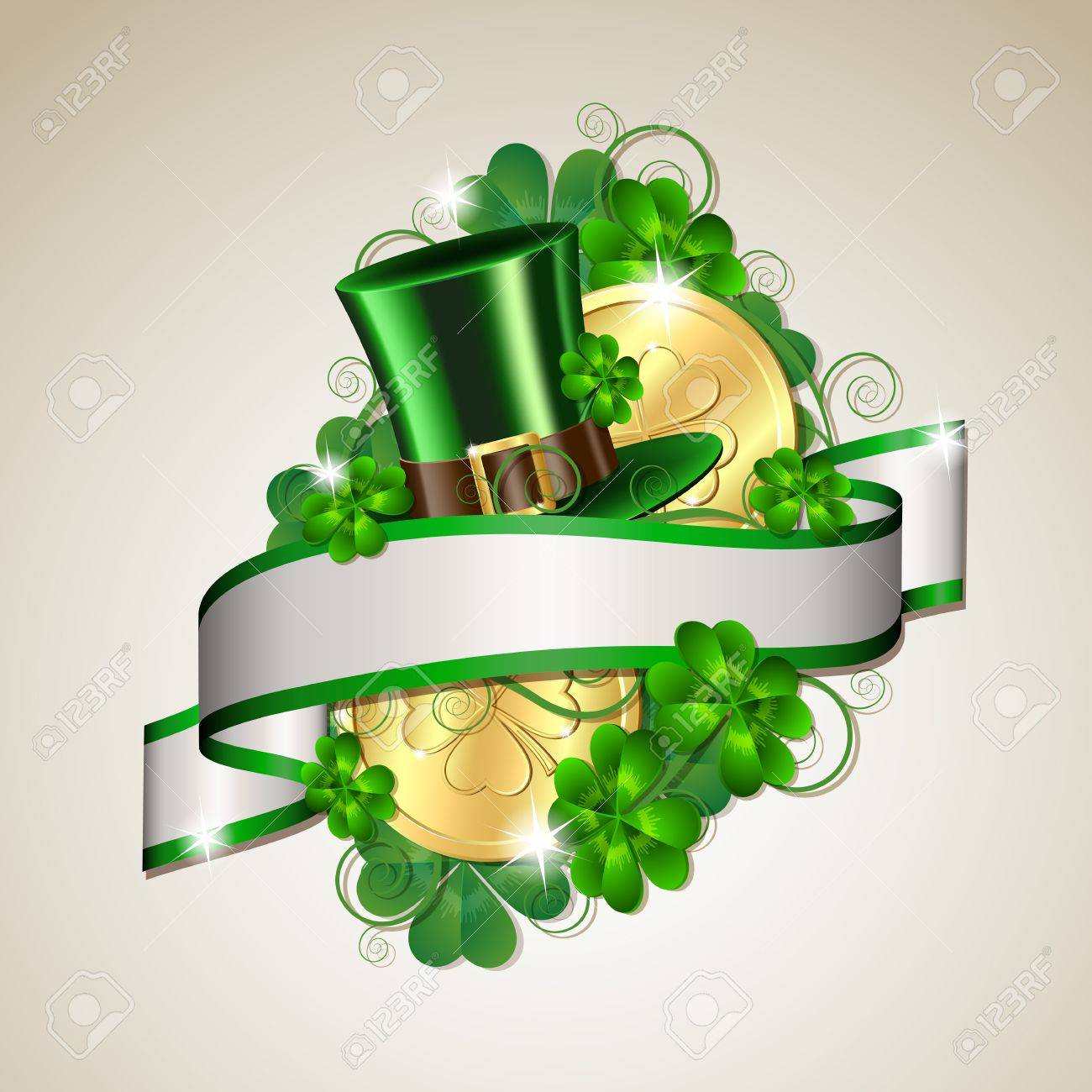 Patrick day card with gold coins and leprechaun hat Stock Vector - 18002406