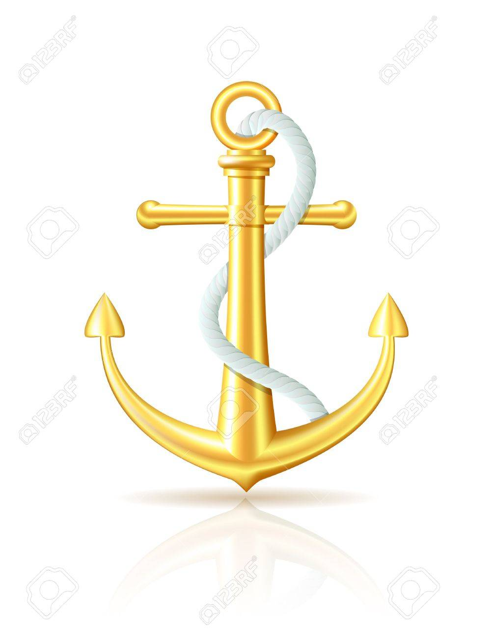 Gold Anchor With Rope On White Background Stock Vector
