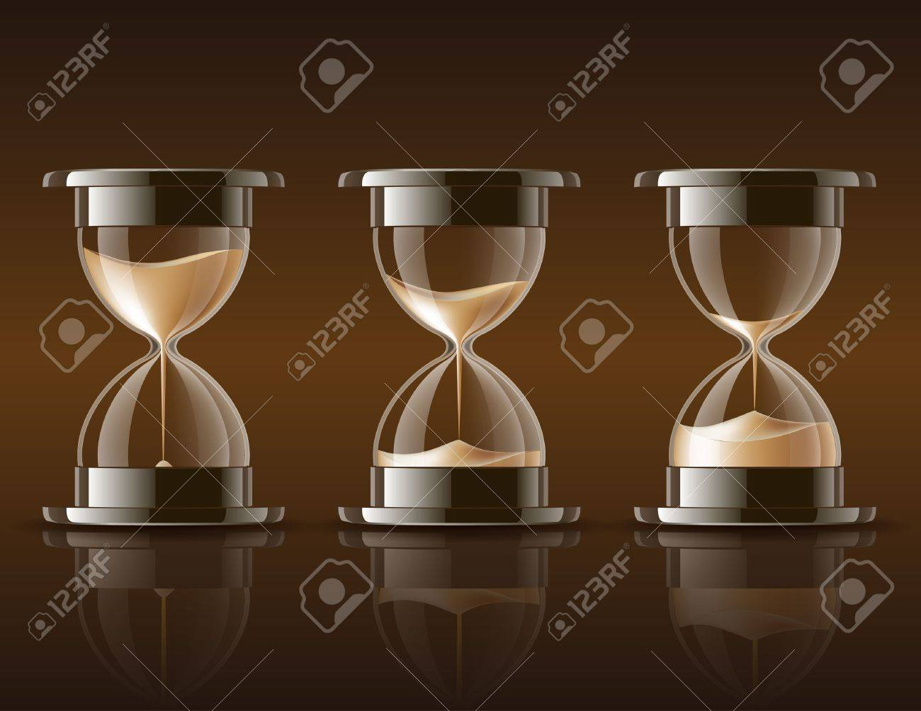 Sand falling in the hourglass in three different states on dark background illustration - 18785226