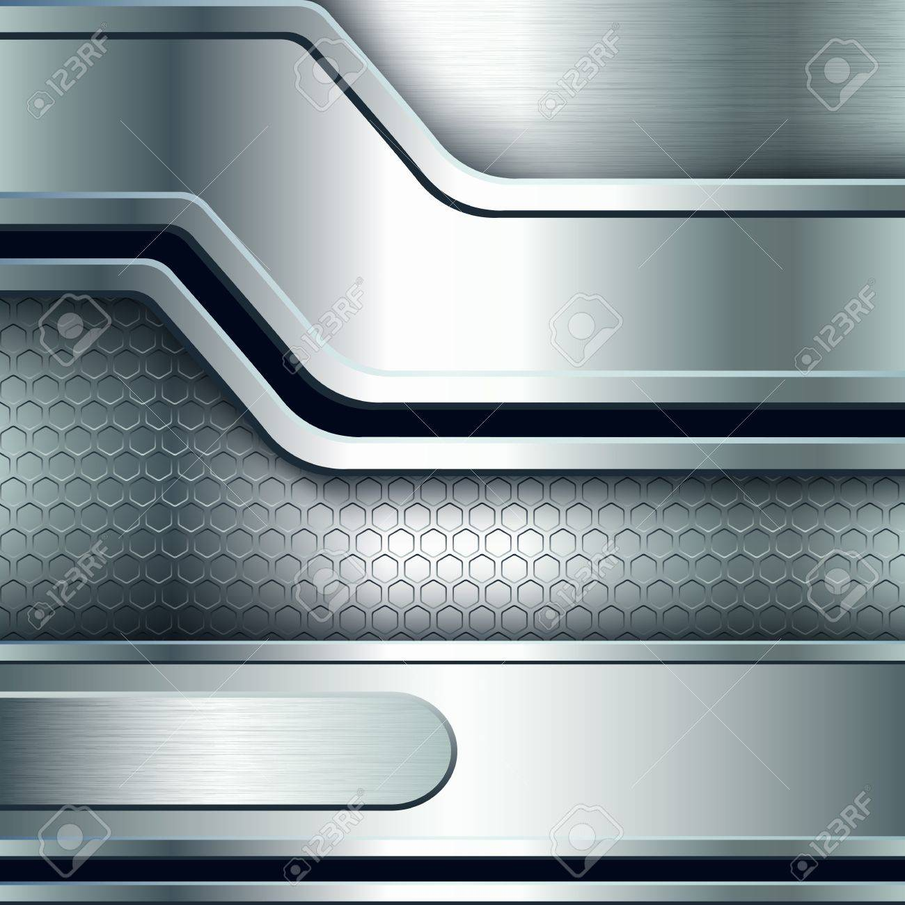 Abstract background, metallic silver banners  Vector illustration Stock Vector - 18991462