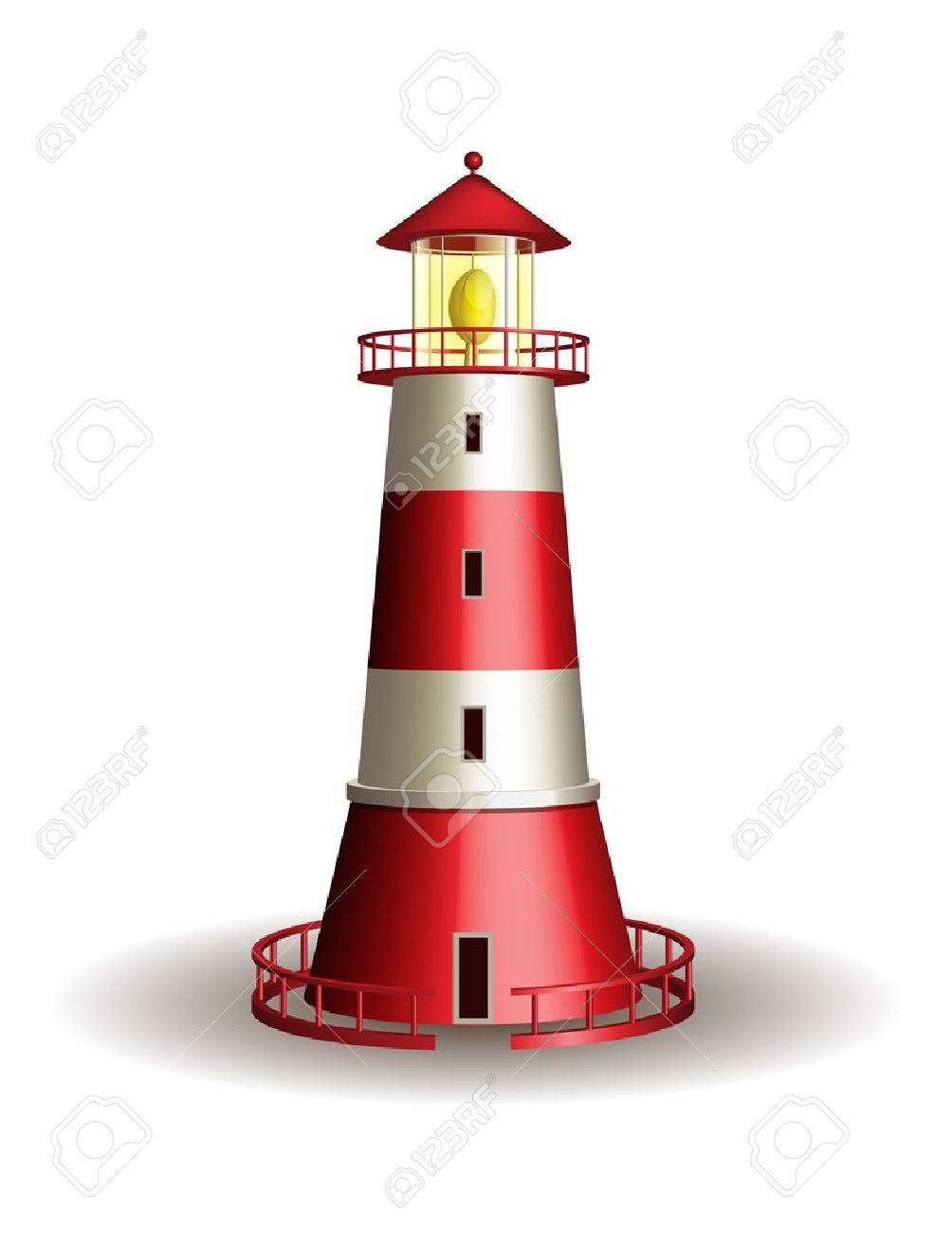 Red lighthouse isolated on white background  illustration Stock Vector - 19110352