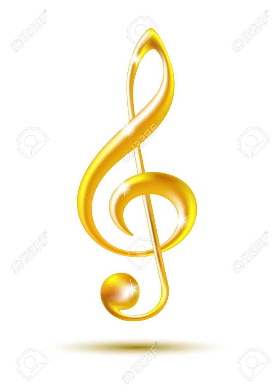 Musical notes staff background on white vector by tassel78 image - Bass Clef Gold Treble Clef Isolated On White Background Vector Illustration