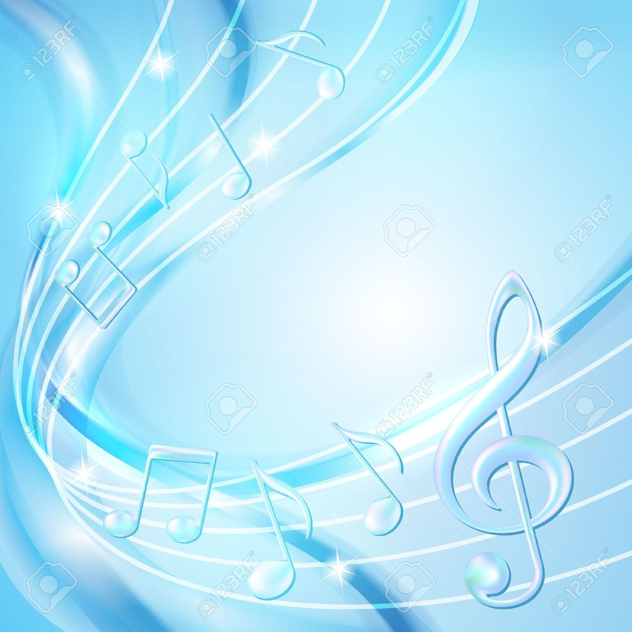 Blue abstract notes music background illustration Stock Vector - 20276227