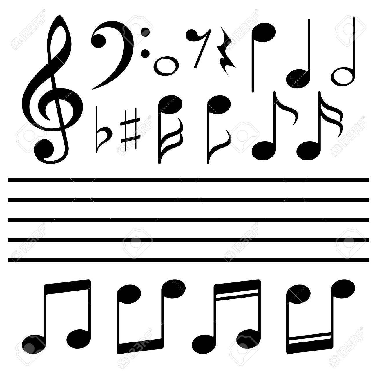 icons set music note royalty free cliparts vectors and stock rh 123rf com Gold Music Notes Music Note Outline