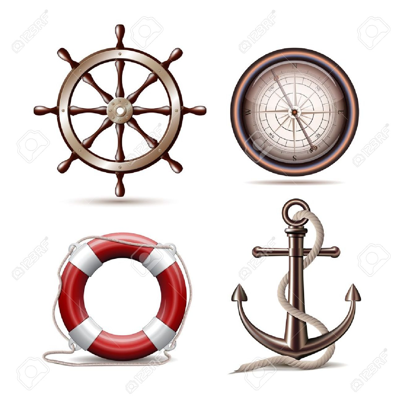 Set of marine symbols on white background Illustration Stock Vector - 20276292